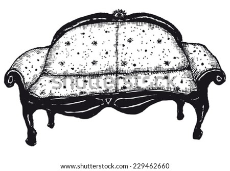 Hand drawn isolated bench seat/ Illustration of hand drawn isolated bench seat - stock vector