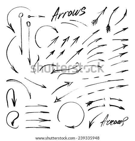Hand-drawn isolated sketchy arrows set. Vector illustration - stock vector