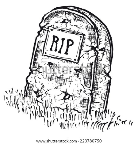 Hand drawn isolated tombstone/ Illustration of hand drawn isolated tombstone with rip inscription - stock vector