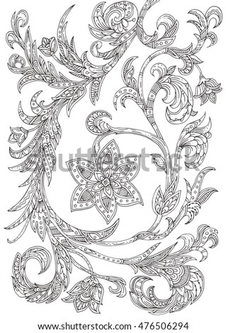 Hand-drawn italian floral ornament. Pattern in black and white. Adult coloring book page, textile and tattoo design. Vector background illustration. Zendoodle.