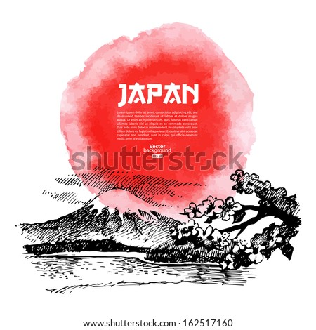Hand drawn Japanese sushi illustration. Sketch and watercolor background - stock vector