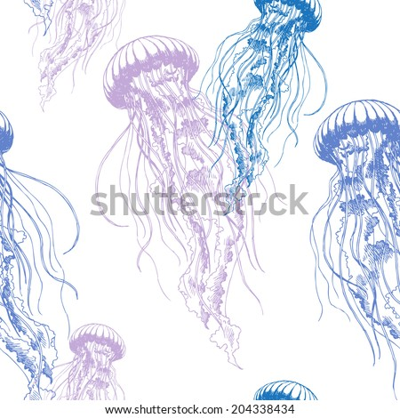 Hand drawn jellyfish. Vector illustration with watercolor. Sea collection. - stock vector