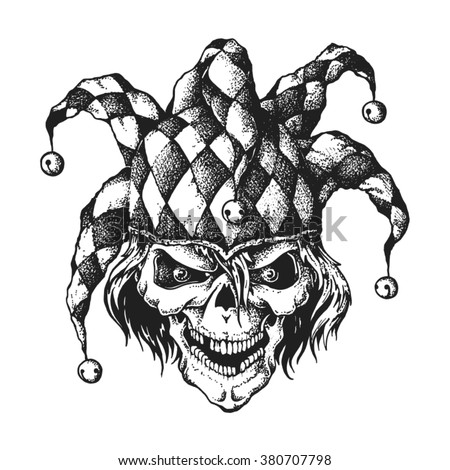 Hand drawn jester skull wearing fools cap wit bells. Vector illustration