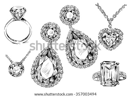 hand-drawn jewelry set