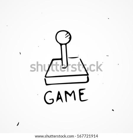Hand drawn joystick - stock vector