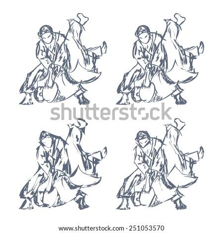 Hand Drawn Judo Throw Isolated Vector Illustration - stock vector