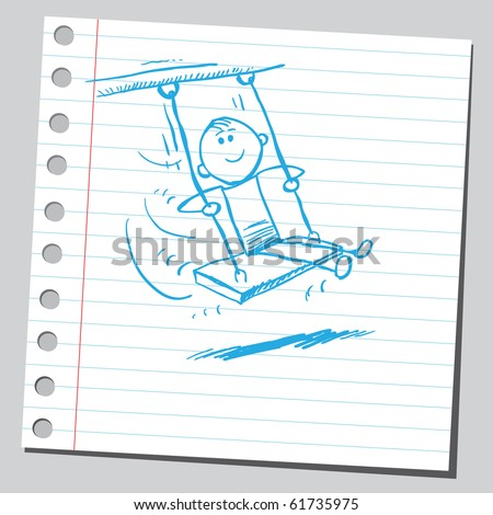 Hand drawn kid swinging - stock vector