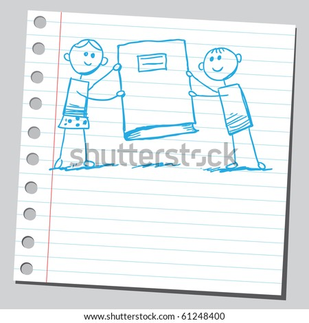 Hand drawn kids holding a book - stock vector