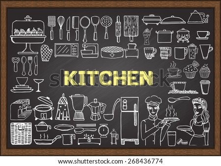 Hand drawn kitchen equipment on chalkboard. Doodles or elements for restaurant design. - stock vector