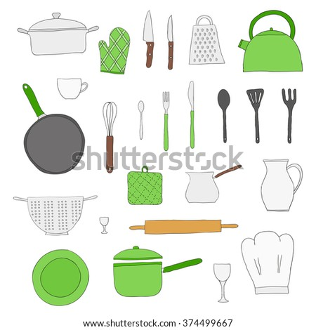 Hand drawn kitchen items isolated on white background. Teapot, chef hat, spoon, spatula, knife, bowl, grater, saucepan, plate, colander, potholder.