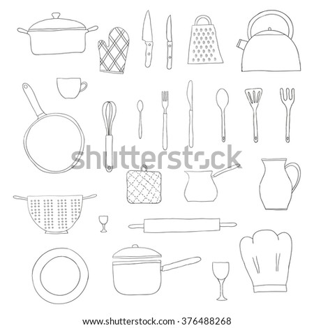 Hand drawn kitchen items isolated on white background. Teapot, chef hat, spoon, spatula, knife, bowl, grater, saucepan, plate, colander, potholder. - stock vector