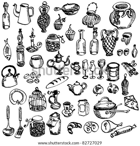 Hand-drawn kitchen stuff collection - stock vector