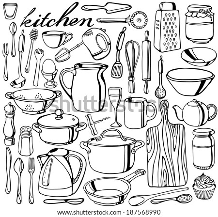 Hand-drawn kitchen tools collection - stock vector