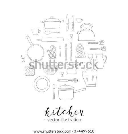 Hand drawn kitchen utensils composed in circle shape. Teapot, chef hat, spoon, spatula, knife, bowl, grater, saucepan, plate, colander, potholder. - stock vector