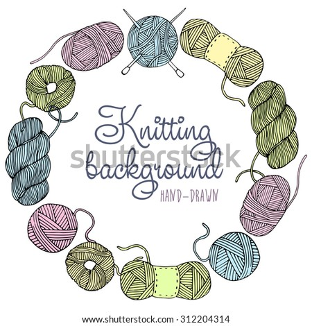 Hand drawn knit frame. Hand made yarn background - stock vector