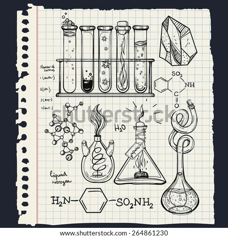 Hand drawn l vintage laboratory icons sketch. Vector illustration.Back to School. Science lab objects doodle style sketch,Magical elements. Alchemy and vintage medieval science. Note book page paper.  - stock vector