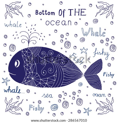 Hand drawn label with a whale and lettering. - stock vector