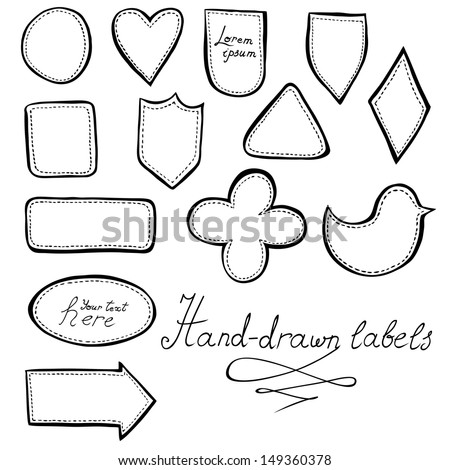 Hand-drawn labels set - stock vector