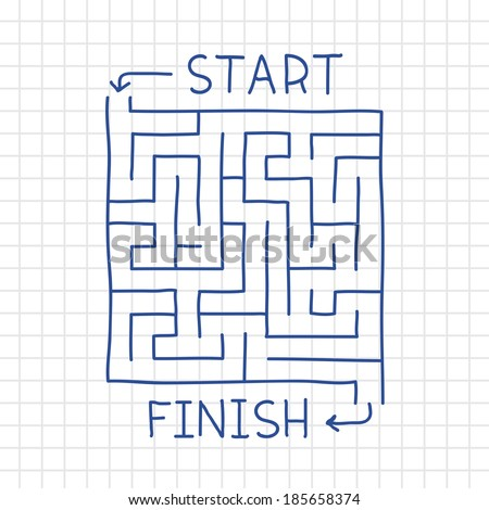 Hand drawn labyrinth in notepad vector illustration