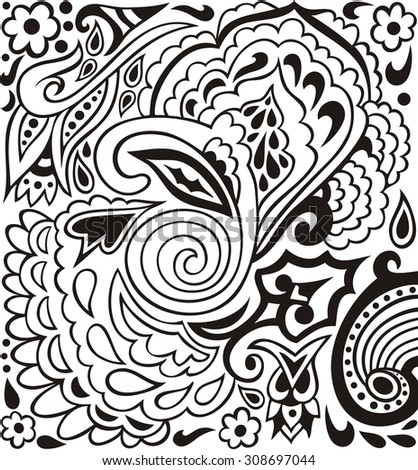 Hand-drawn lace doodles retro pattern for paisley can be used for wallpaper,eastern ethnic tribal ornament, pattern fills, web page background, surface textures  - stock vector.