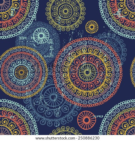 Hand drawn  lace ethnic seamless pattern. All objects are conveniently grouped  and are easily editable. - stock vector