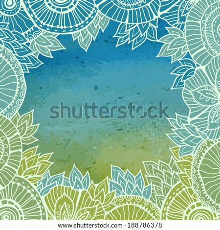 Hand  drawn lace frame pattern on blue and green watercolor background. All objects are conveniently grouped on different layers and are easily editable.  - stock vector