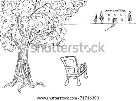 Hand drawn landscape illustration - stock vector