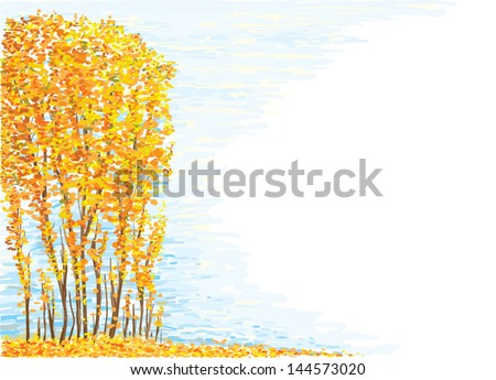 Hand drawn landscape, like a oil painting. - stock vector