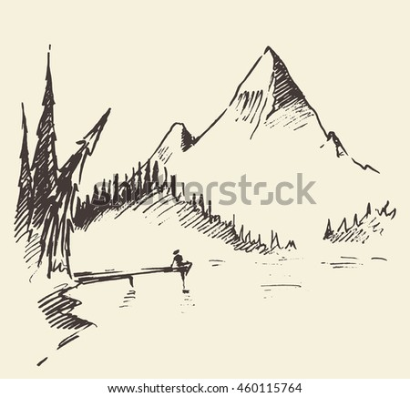 Hand drawn landscape with mountain, lake and fir forest. Vector illustration