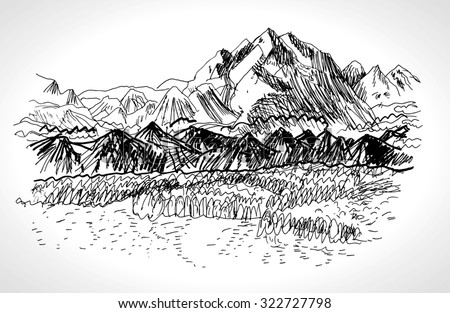 Hand drawn landscape with Mountains, lake and fir forest, vintage vector illustration