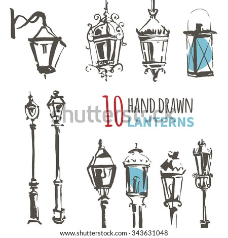 Hand Drawn Lantern Set. Ink vector illustration of European Lanterns. Freehand drawing with liner pen on paper. Vintage design. Postcard template. Urban, city, town, street element. - stock vector