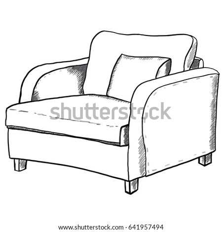 couch clipart black and white. hand drawn large armchair with pillow isolated on white background for advertising, prints, design couch clipart black and