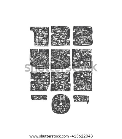 Hand drawn large digits from 0 to 9, with punctuation marks. Perfect for creative lettering, massive, solid, hatched with thin nib and brush. Numbers made in solid geometric style, isolated on white.