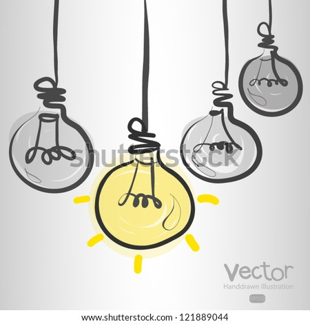 hand drawn leader light bulb - stock vector