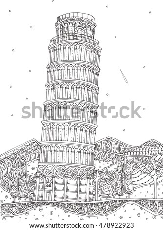 Hand-drawn Leaning tower of Pisa  patterned with ethnic doodle pattern. Zendala, design for meditation, vector illustration, isolated on a light patterned background. Zen doodles. Coloring for adults.