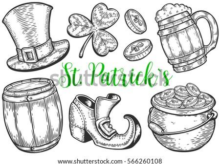 hand drawn leprechaun hat clover beer mug barrel boot golden coin
