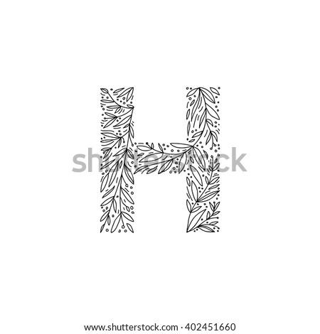Hand drawn letter h floral decorative stock photo photo vector hand drawn letter h floral decorative typography decorative handmade font english alphabet altavistaventures Choice Image
