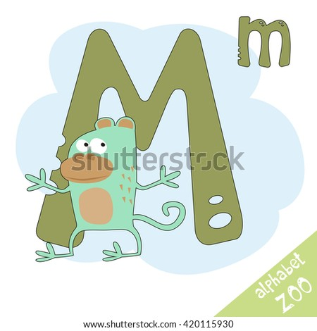 Hand drawn letter M and funny cute monkey. Children's alphabet in cartoon style, vector illustration. - stock vector