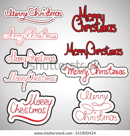 "Hand Drawn Lettering ""Merry Christmas"" Set - Isolated On Background - Vector Illustration, Graphic Design Editable For Your Design.   - stock vector"
