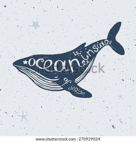 hand drawn lettering, nautical collection, big blue whale silhouette - stock vector