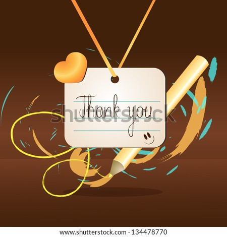 "Hand Drawn Lettering - ""Thank You"" On Brown Background - Vector Illustration, Graphic Design Editable For Your Design.  Thanks Lettering Logo - stock vector"