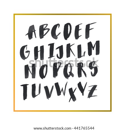 Hand drawn letters. Alphabet letters. ABC letters.Nice font for your design. Hand drawn alphabet written with brush pen. Capital letters. Handwritten Script font. Hand Lettering and Custom Typography  - stock vector