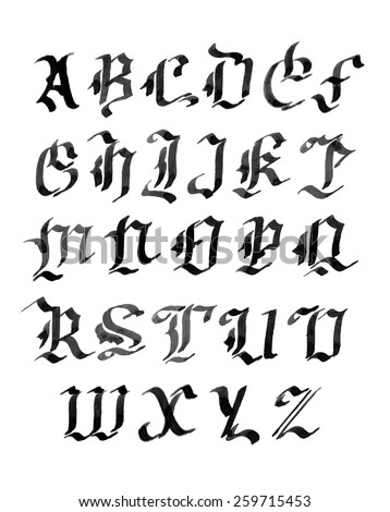 Hand Drawn Letters Gothic Style Alphabet Ink