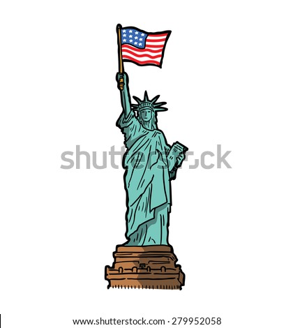 hand drawn liberty statue - stock vector