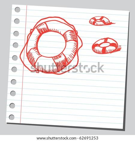 Hand drawn life preservers - stock vector