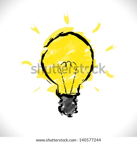 Hand Drawn Light Bulb - stock vector