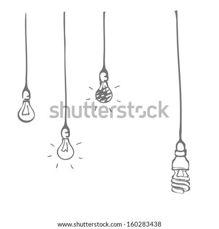 Hand drawn light bulb - stock vector