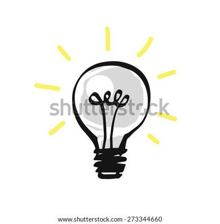 Hand drawn light bulb, vector illustration - stock vector