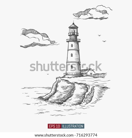 Abstract sea adventure background world map stock vector 742357567 hand drawn lighthouse template for your design works engraved style vector illustration pronofoot35fo Images