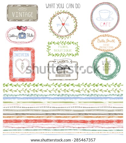 Hand drawn  line border set with example logo ,frame,invitations card.Seamless pattern, ornament.Colored Doodle decor.For decorating  design template, invitations, holiday, baby design.Vector